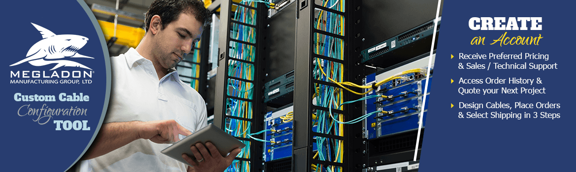 Photo. Engineer holding tablet in data center. Welcome to Megladon Online Store Header Image.